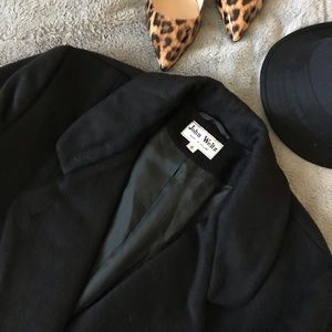 Vintage John Weitz Black Wool Long Trench Coat